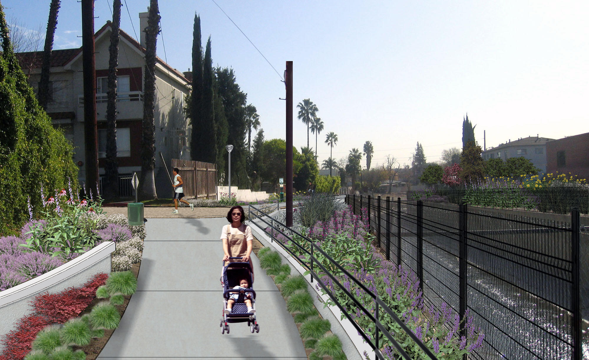Renderings of a bike path that will be built along the Burbank Western Channel from the downtown Burbank Metrolink station to Alameda Avenue.