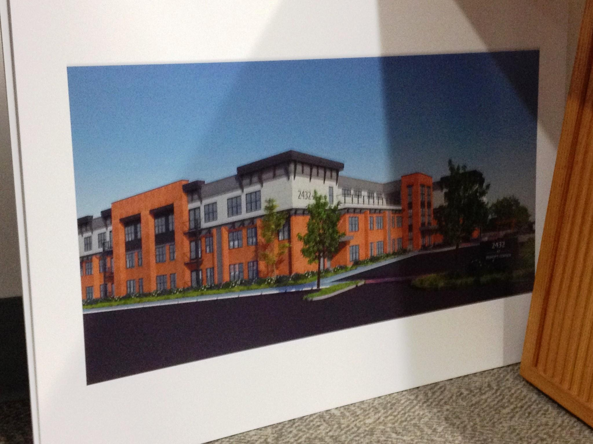 A rendering of a 64-unit apartment building approved for Bishops Corner.