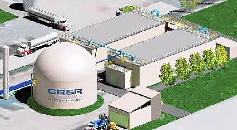 Pictured is a conceptual drawing of an anaerobic digestion facility in Perris that will take organic material from Costa Mesa residents' trash cans and convert it to renewable natural gas.