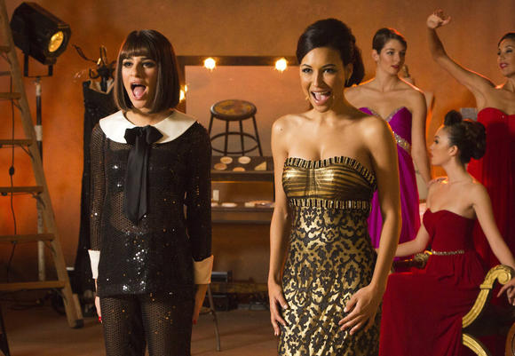 "Naya Rivera, right, and Lea Michele perform at a photo shoot to promote ""Funny Girl."""