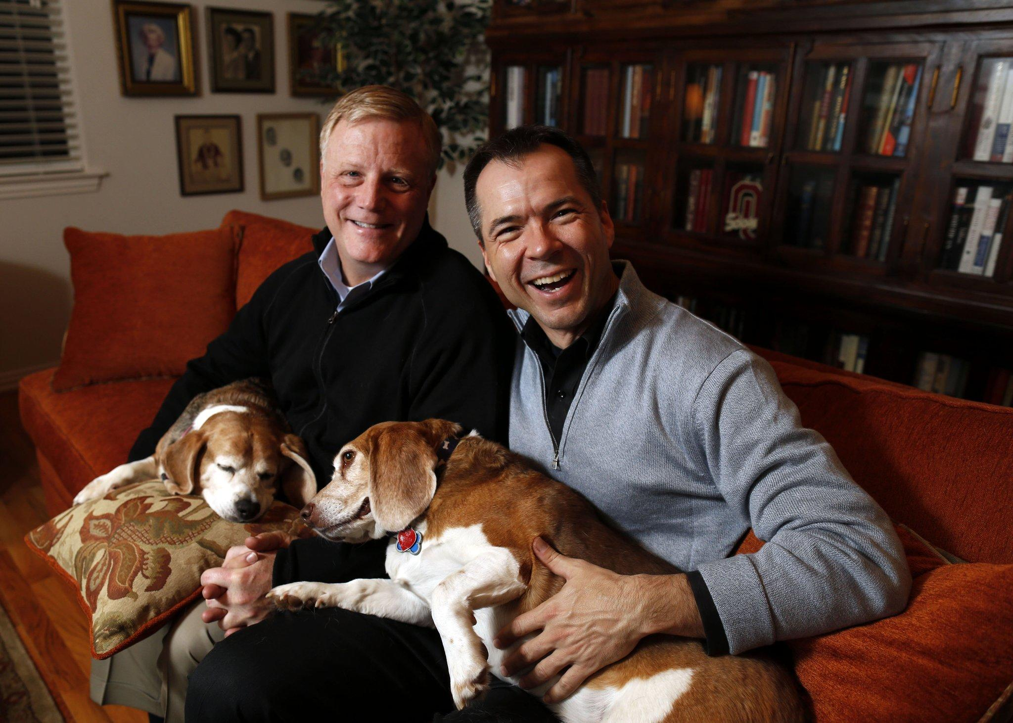 Plaintiffs Mark Pharris (left) and partner Victor Holmes, in their Plano, Texas home, met in 1997. Phariss is a lawyer and Holmes is a retired Air Force major.