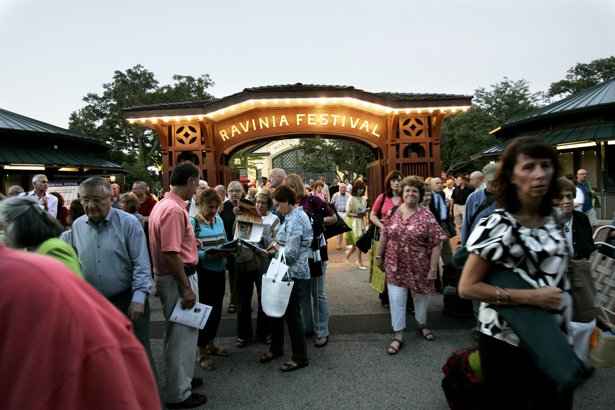 The Ravinia Festival crowd exits the gala celebrating the 80th birthday of Stephen Sondheim with the Chicago Symphony Orchestra.