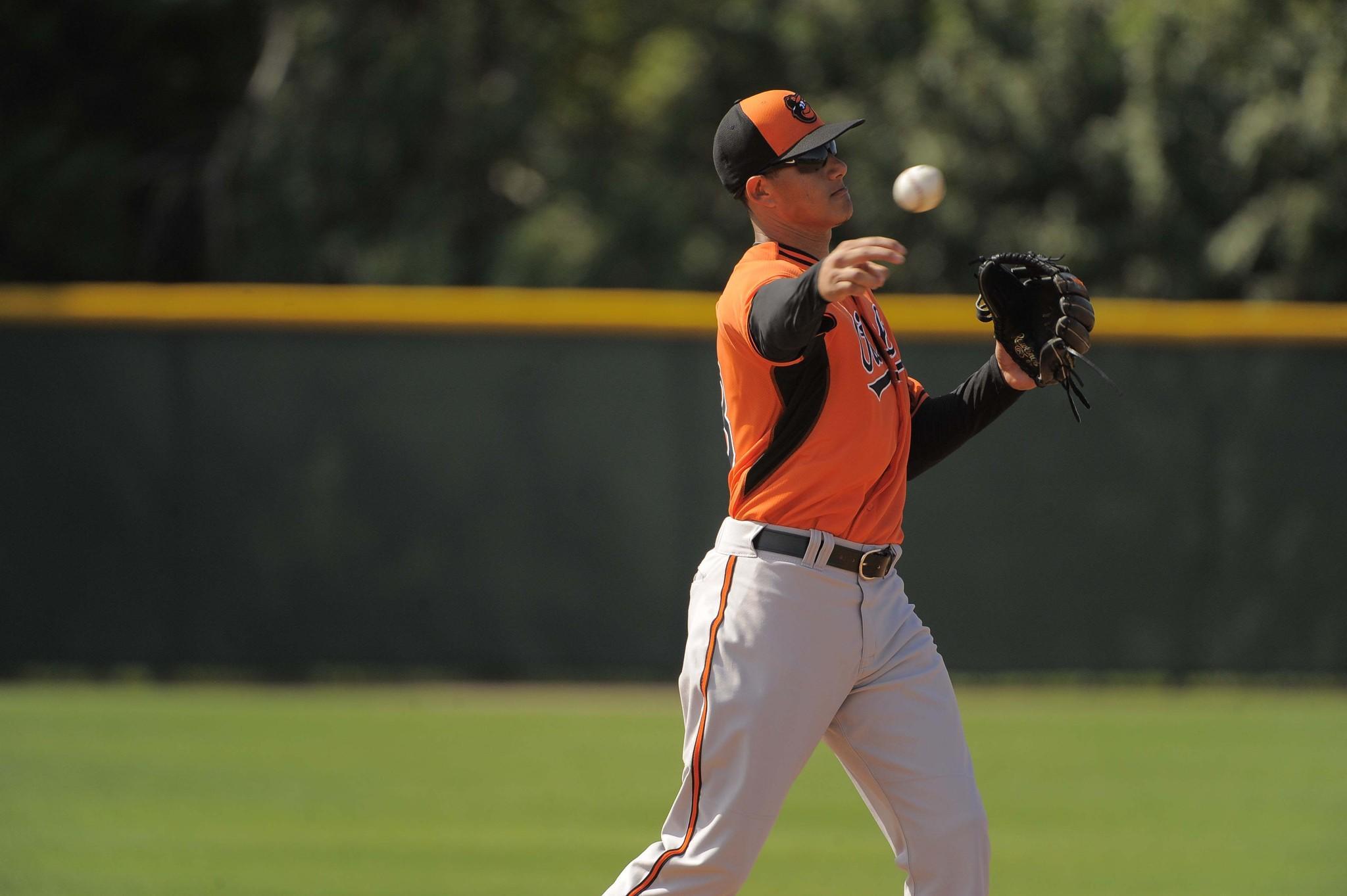 Baltimore Orioles third baseman Manny Machado throws the ball during fielding drills.