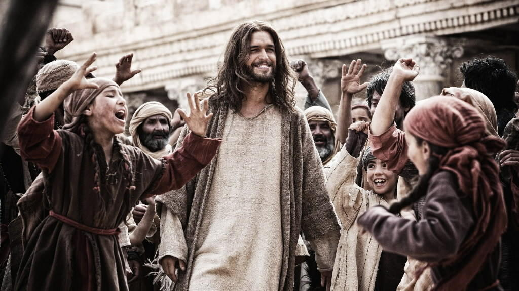 "Jesus (Diego Morgado) greets his followers in ""Son of God."""