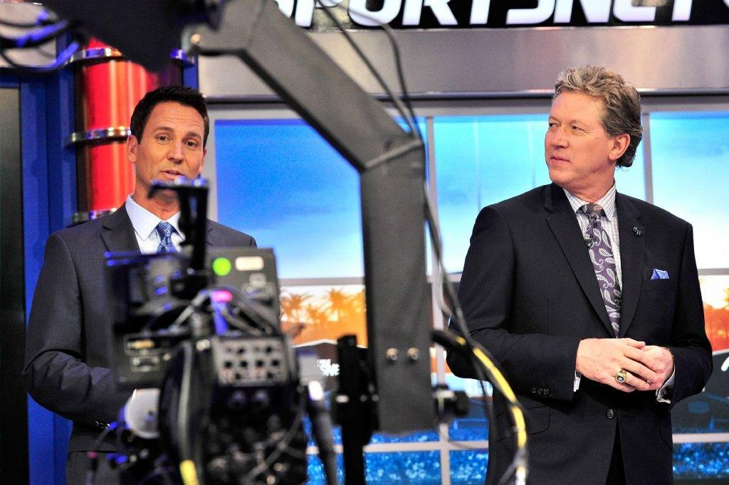 John Hartung, left, and Orel Hershiser launch SportsNet LA.