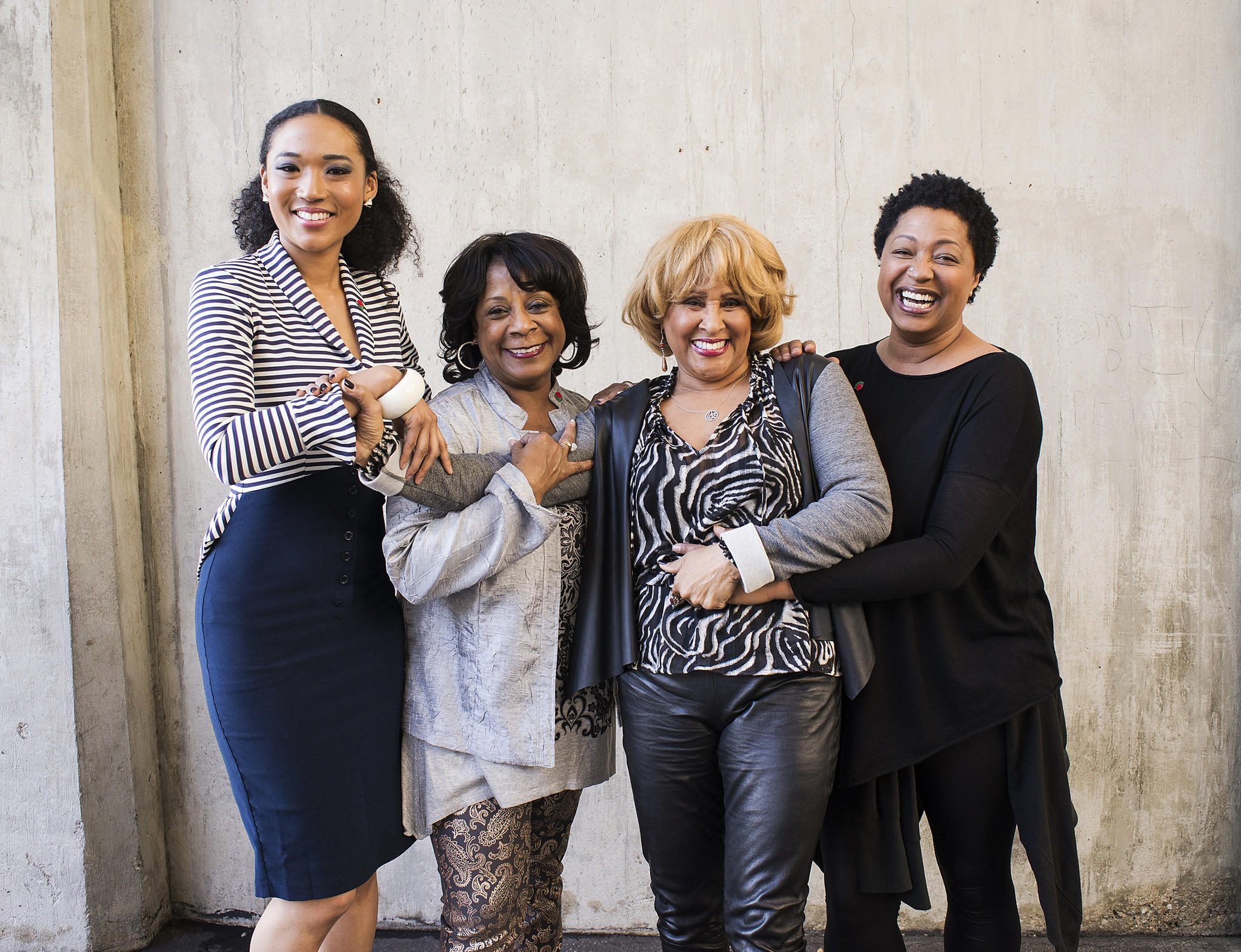 """From left, singers Judith Hill, Merry Clayton, Darlene Love and Lisa Fischer pose for a portrait in Pasadena, where they were performing the national anthem at the Rose Bowl football game. The four women are backup singers featured in the documentary film """"20 Feet From Stardom."""""""