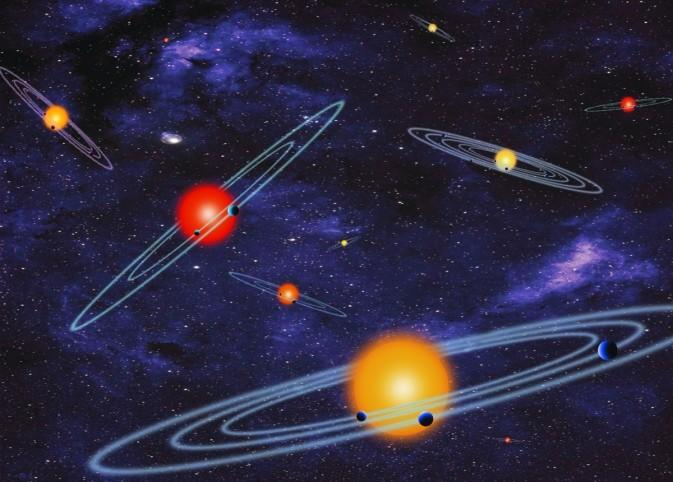 """An artist concept depicts """"multiple-transiting planet systems,"""" which are stars with more than one planet like the kind discovered by the Kepler mission, developed by JPL."""