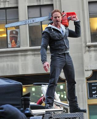 "Actor Ian Ziering is seen on the set of ""Sharknado 2"" in New York City."
