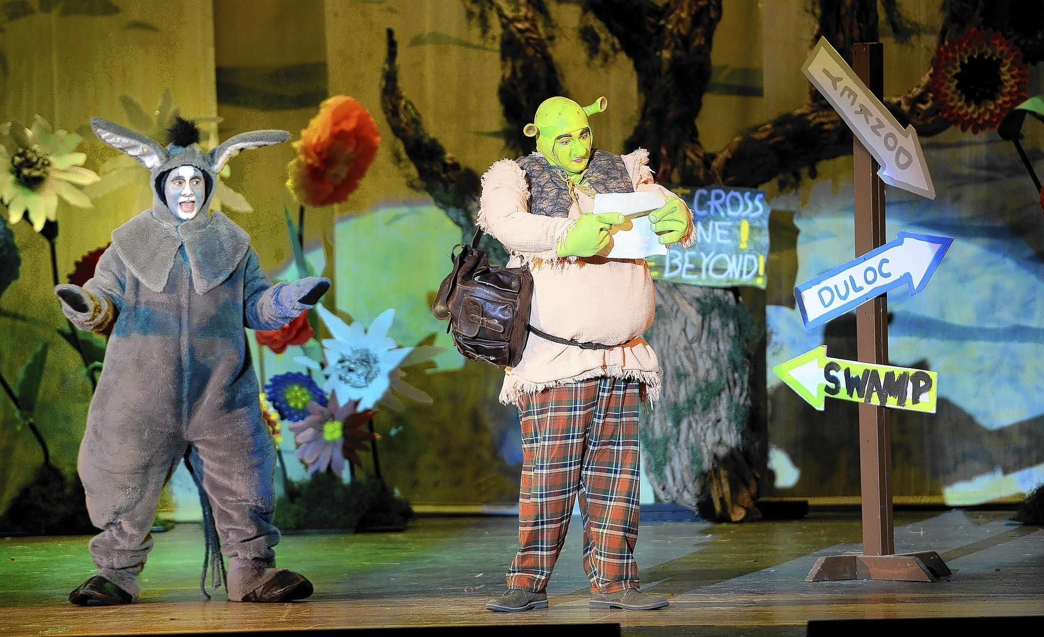 Phil Shaheen (left) is Donkey and Alex Knapp is Shrek in the Southern Lehigh High School production of 'Shrek the Musical,' through Sunday.