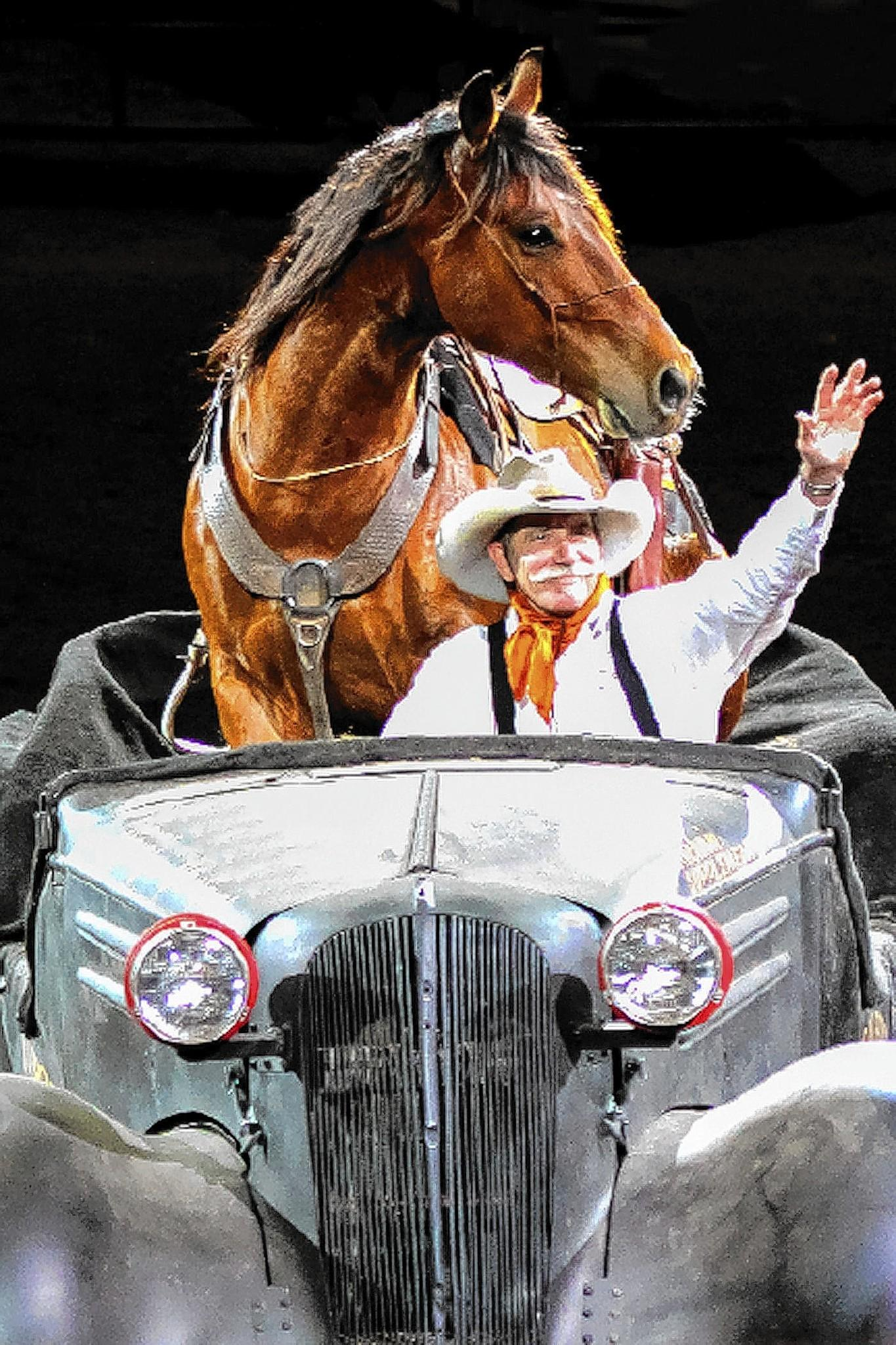 Bobby Kerr, who placed second and third in the Mustang Millionaire showcased on Nat Geo Wild in December, performs with his formerly wild mustangs in Theatre Equus at the Pennsylvania Horse Show.