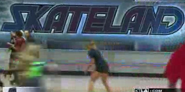 A frame from a 2012 video shows skaters at the Skateland rink in Northridge.