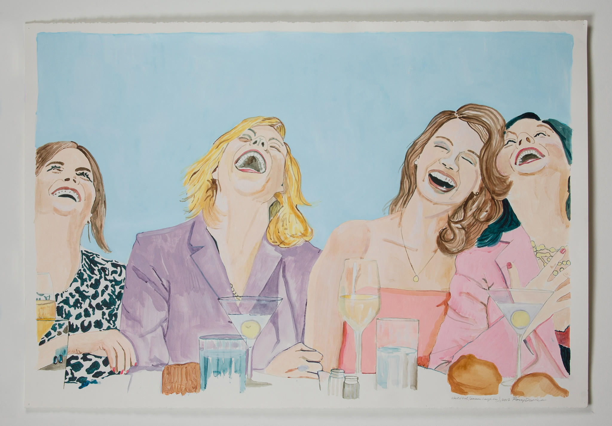 "Rory Devine, ""Untitled (Women Laughing I)"" 2013, acrylic on paper."
