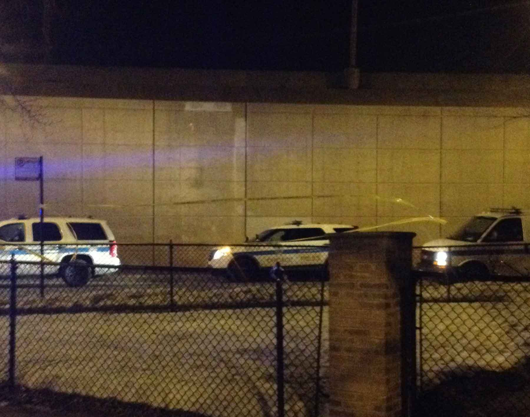 Police tape blows in the wind at a shooting just south of the Chicago Skyway by East 69th Street.