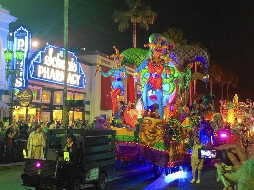 The revamped jester float now opens Universal's Mardi Gras parade.