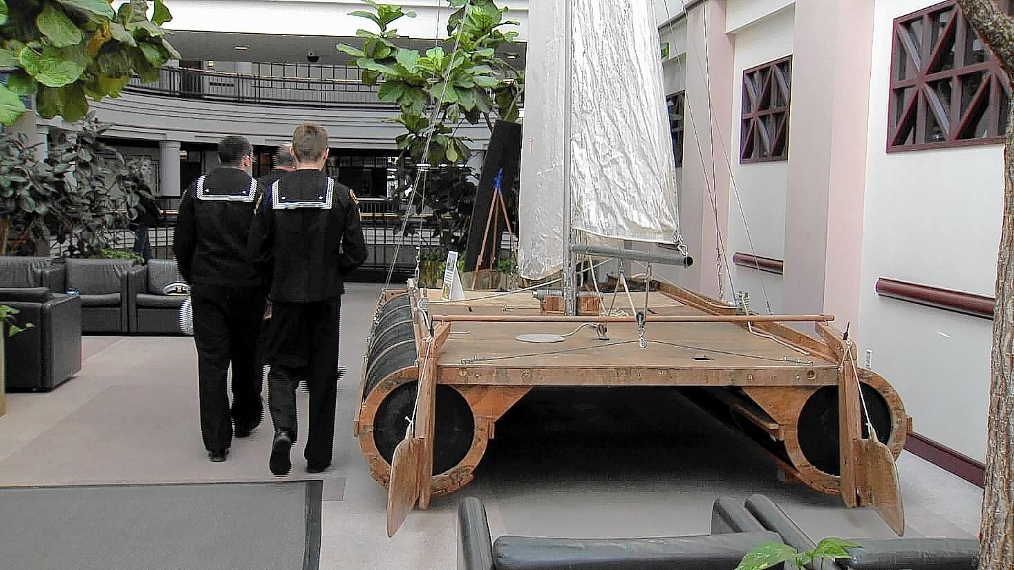 "A boat built out of recycled oil barrels, plywood sails and mast is on display at Legislative Office Building in Hartford before it heads to Haiti as part of a movement to raise awareness about renewable energy. The ""Cat Fish 2"" will sail, with an escort, about 22 hundred miles to Haiti sometime next year."