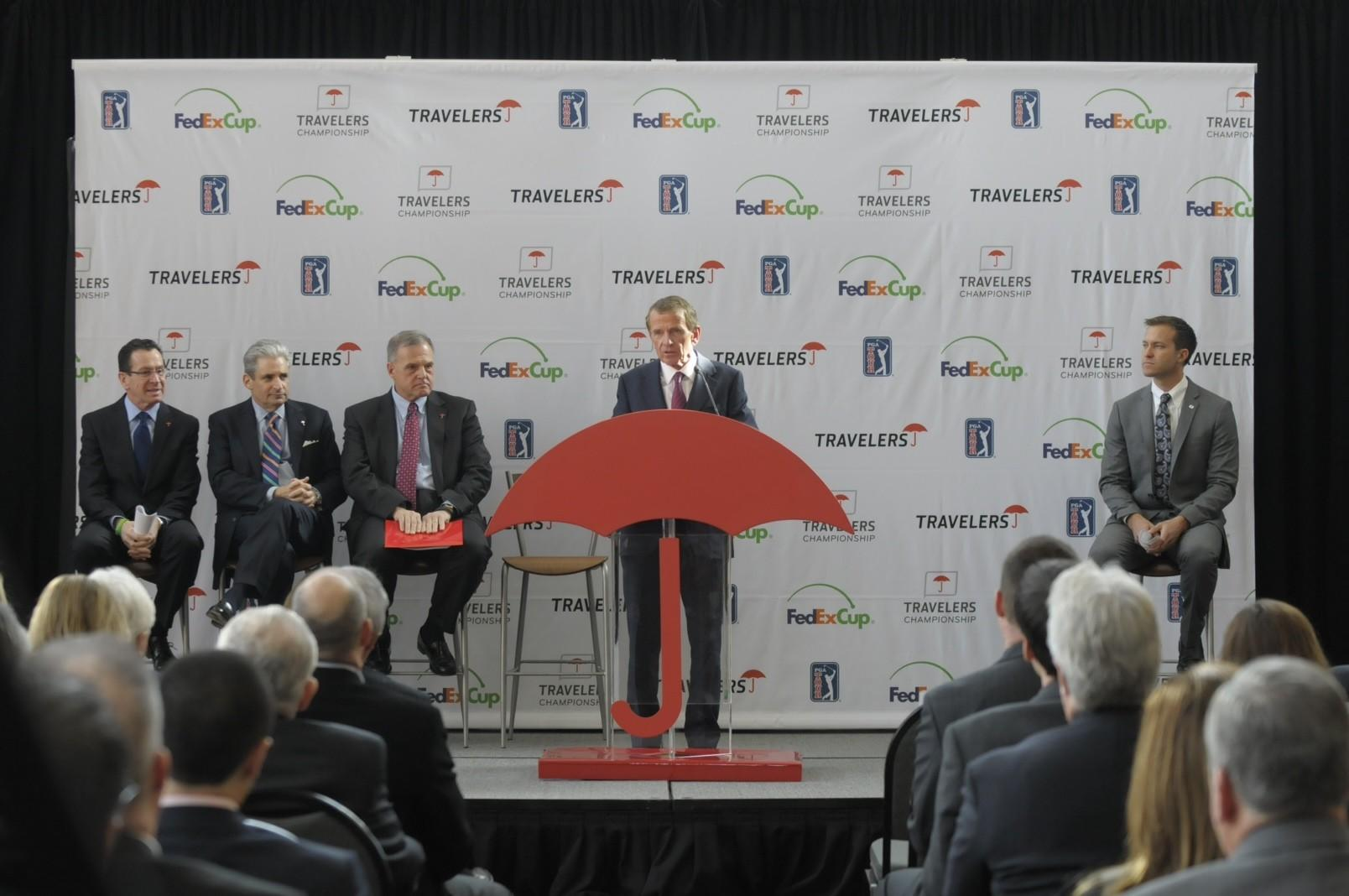 PGA Tour Commissioner Tim Finchem speaks at Travelers PGA TOUR press conference in Hartford on Thursday morning. A new sponsorship agreement extends the Travelers Championship for another 10 years.