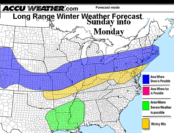 AccuWeather.com predicts a mix of rain, sleet and snow in Maryland on Sunday and Monday.