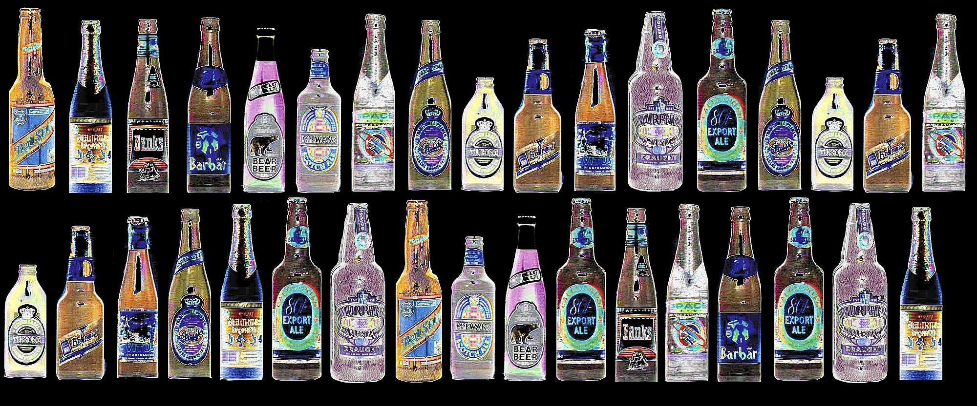 Gaylen Floy color illustration of rows of different brands of beer bottles.