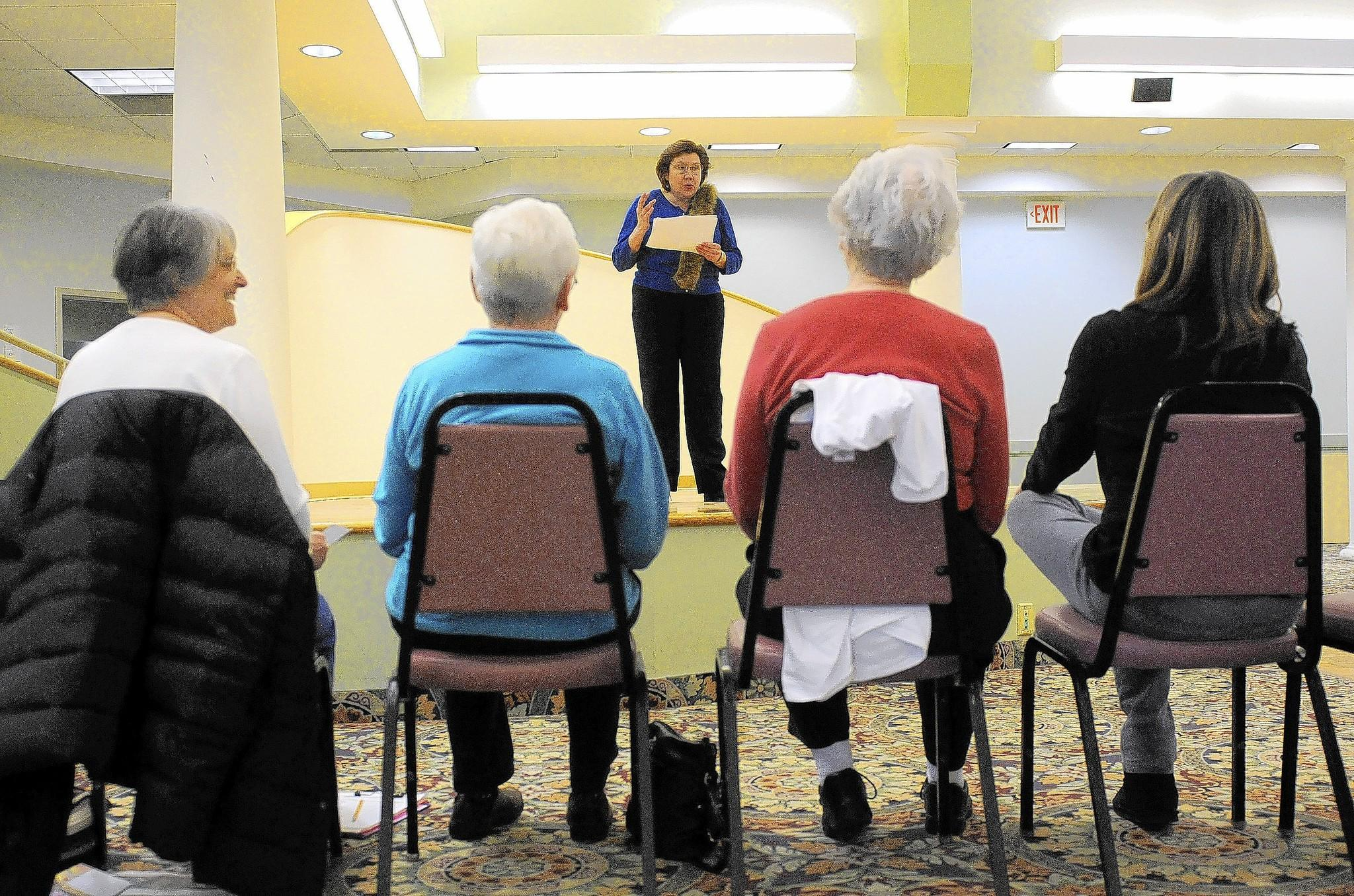 ENFIELD, CT; 2/24/2014; Student Mary Korostynski reads a monologue for fellow students and instructor Kathryn Pepe at a beginning acting class held Monday at the Enfield Senior Center. MICHAEL McANDREWS | mmcandrews@courant.com ORG XMIT: B583530782Z.1