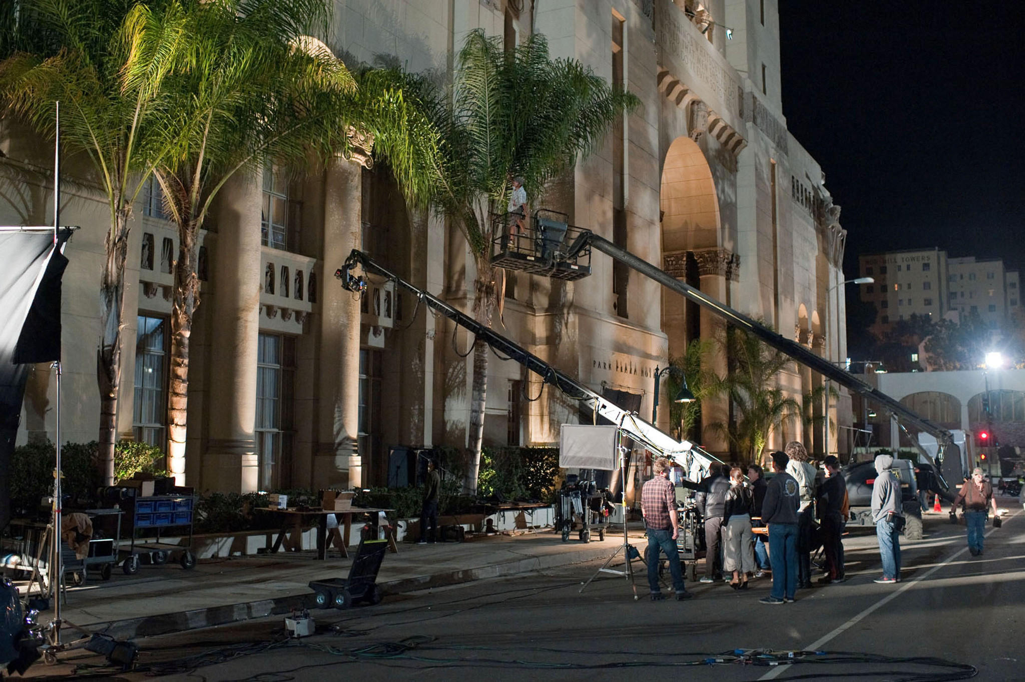 "The Park Plaza Hotel exterior in Los Angeles offers a location setting for the Warner Bros. movie ""Gangster Squad."""