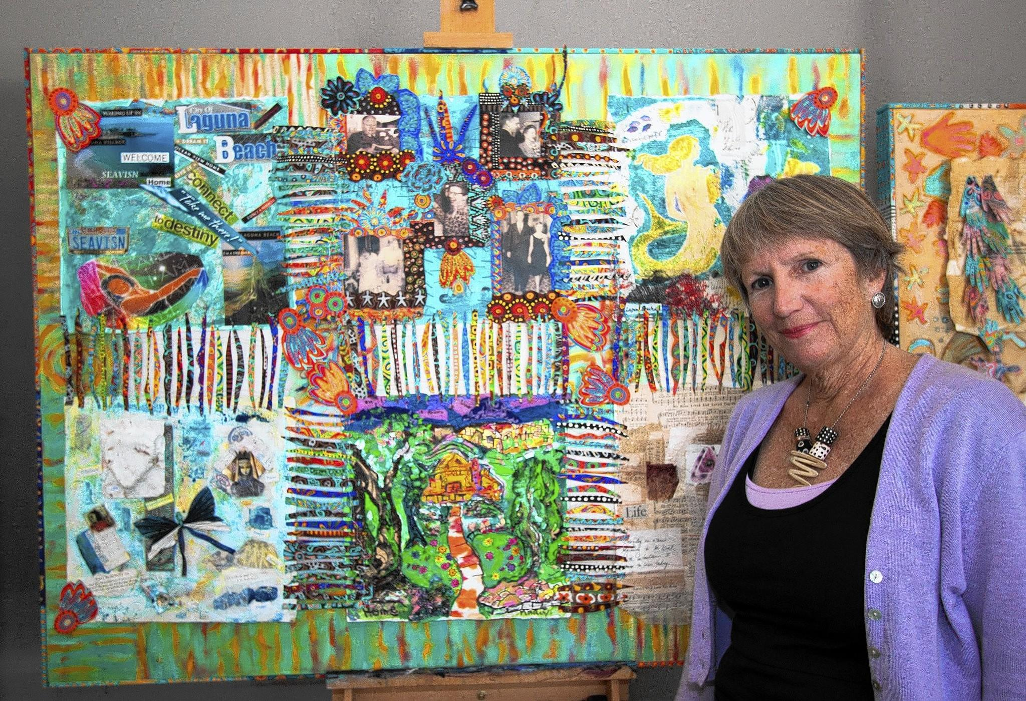 "Artist Gretchen Shannon with one of six ""visual narrative"" panels that will be display March 28 at the Laguna Beach Community and Susi Q Senior Center."