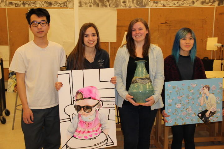 Henry Stein, Caitlin Becker, Cayla Ferdman and Serena Phu are the four Hall High School students whose art was chosen for exhibit as part of the 2014 Connecticut Regional Scholastic Art Awards.