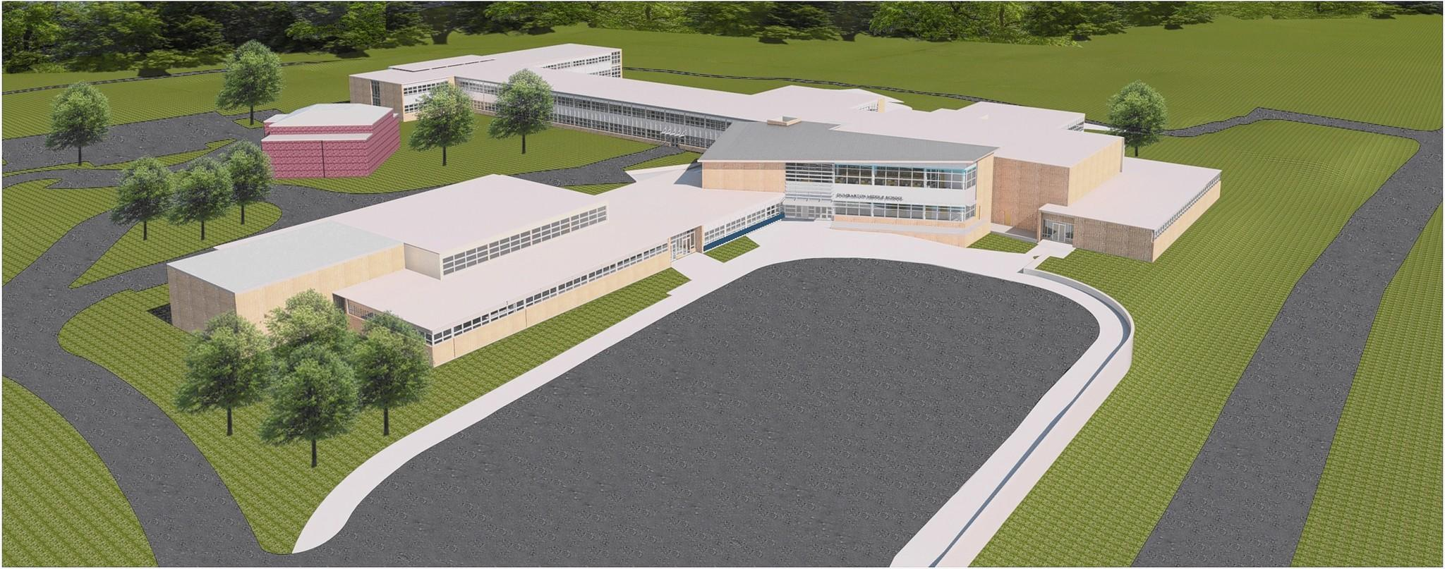 An aerial rendering of renovations of A Dumbarton Middle Schoo. The $27.5 million renovation will include new space for administrtive offices and a library media center. Some Rodgers Forge residents have different ideas about the parking lot and bus loop.