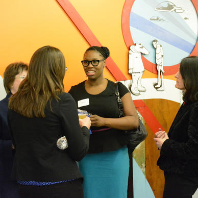 "Guests mingle at the ""Women in Tech: The Male Perspective,"" event held at 1871."