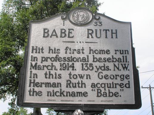 Marker at site of Babe Ruth's first professional home run.