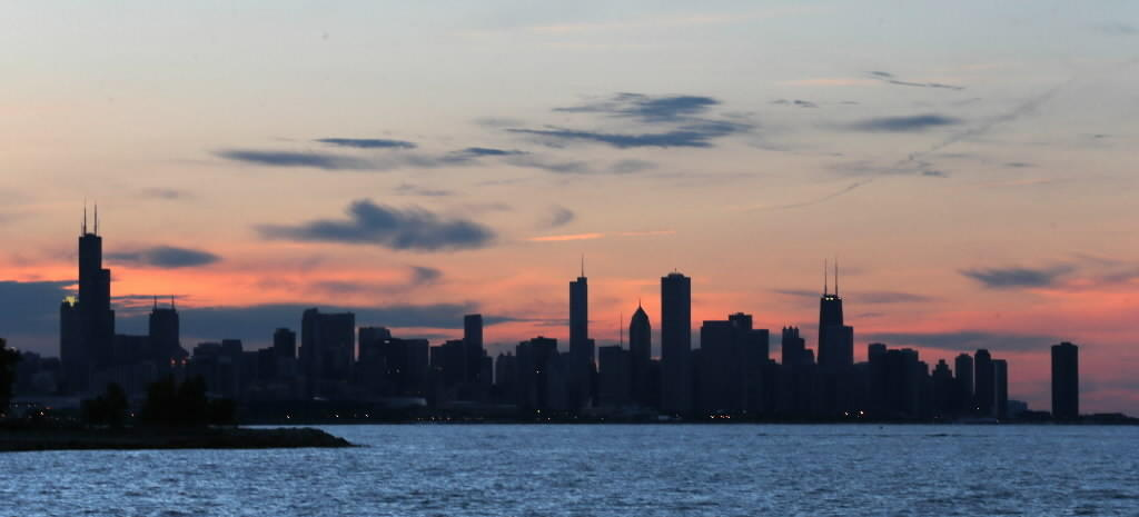 The Chicago skyline during sunset. Photographed at Promontory Point in Hyde Park. May 24, 2013 (Phil Velasquez Chicago Tribune)