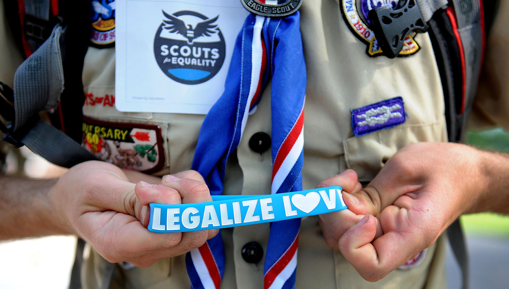 Scouts for Equality holds a rally to call for equality and inclusion for gays in the Boy Scouts of America at the Boy Scout Memorial in Washington, D.C., on May 22 2013.