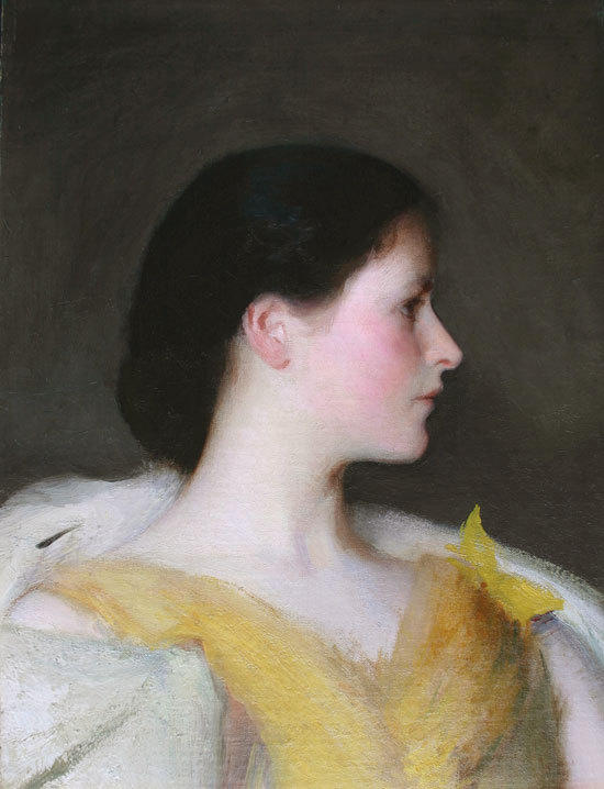 "Edmund Charles Tarbell (1862 - 1938) Girl's Head (Lydia Hatch) unsigned, oil on canvas, 20"" x 15""."