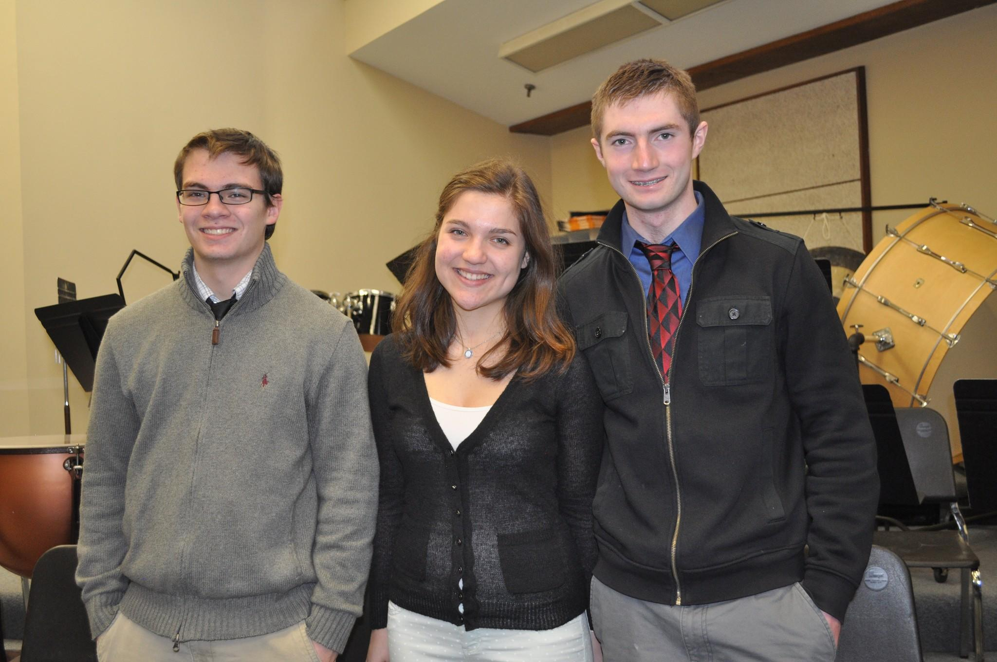 From left to right: Glastonbury residents Nick Giamalis '16 and Lina Volin '15 and West Hartford resident Daniel Melody '15 have been named to the prestigious All State Ensemble by the CT Music Educators Association.