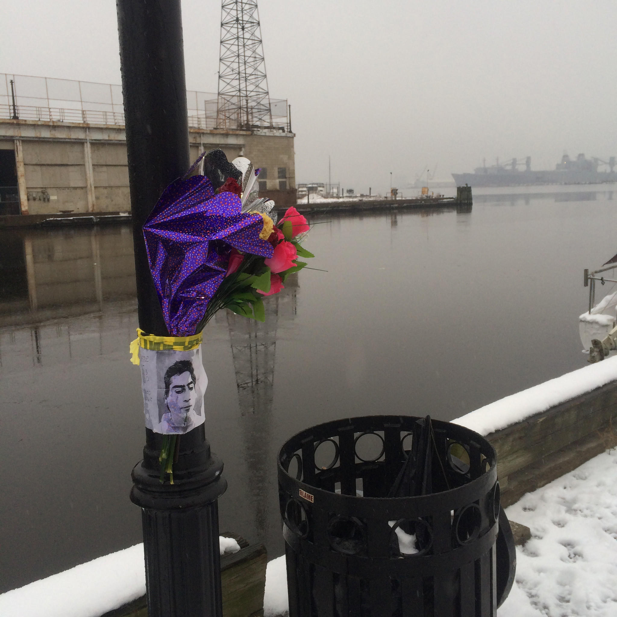 A reader-submitted photo shows a memorial set up for Robert Gomez, who was found floating in the water.