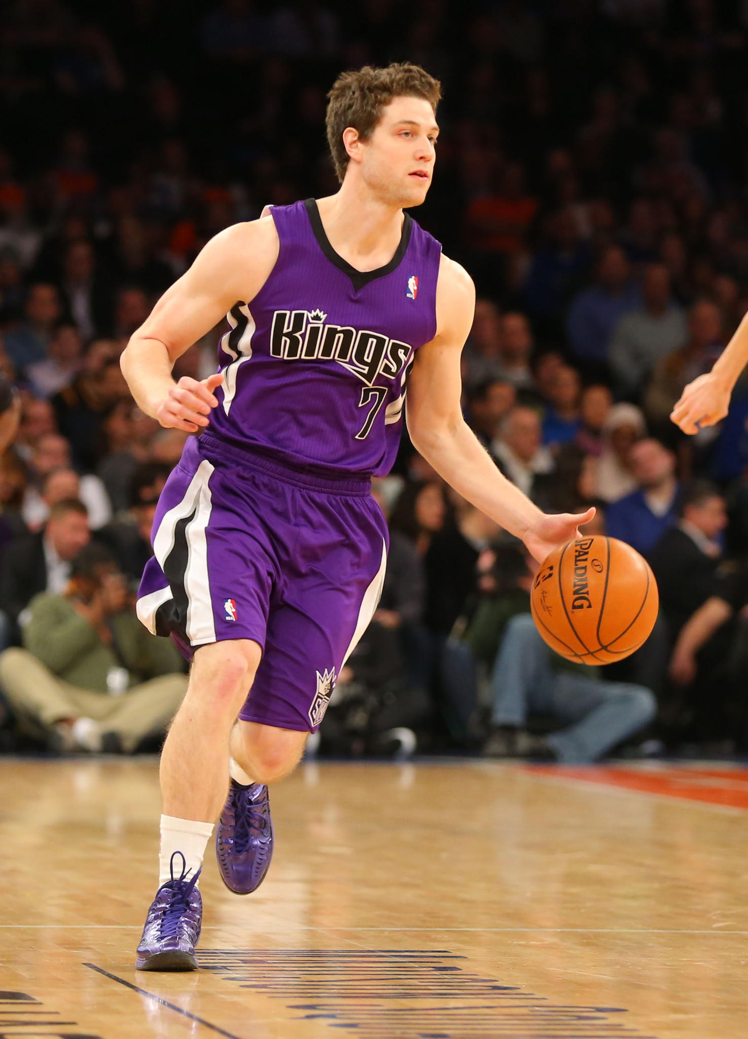Kings point guard Jimmer Fredette brings the ball up court during the first half against the Knicks at Madison Square Garden.
