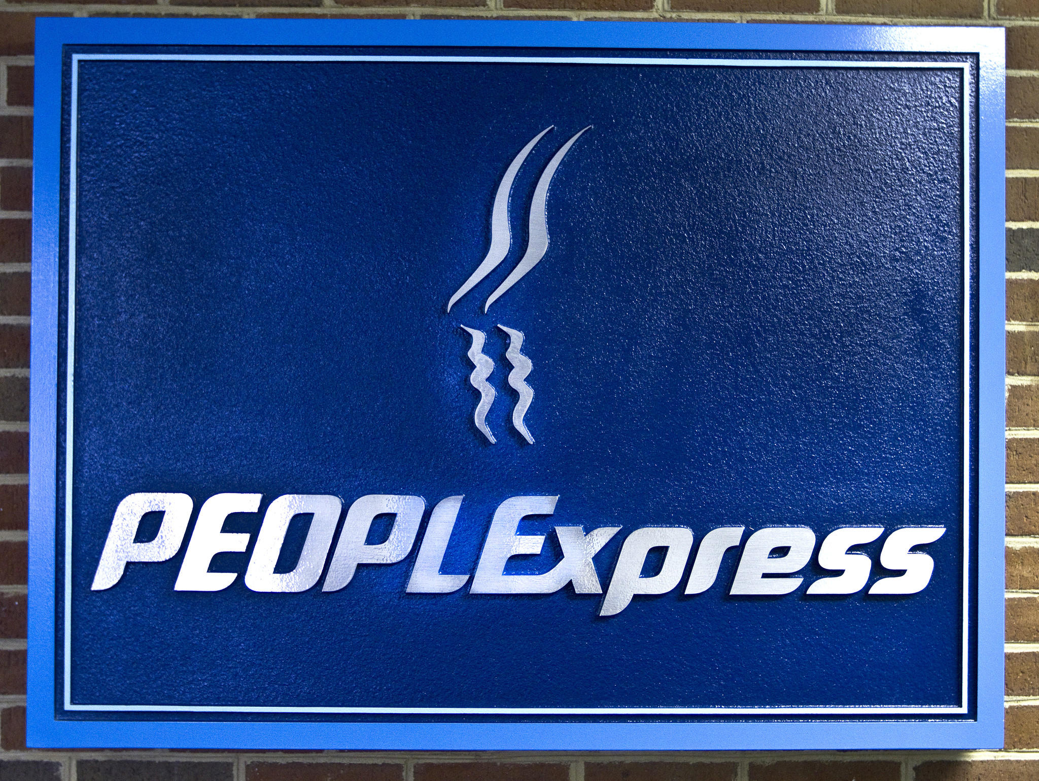 People's Express logo inside the old terminal building at Newport News/Williamsburg Airport.