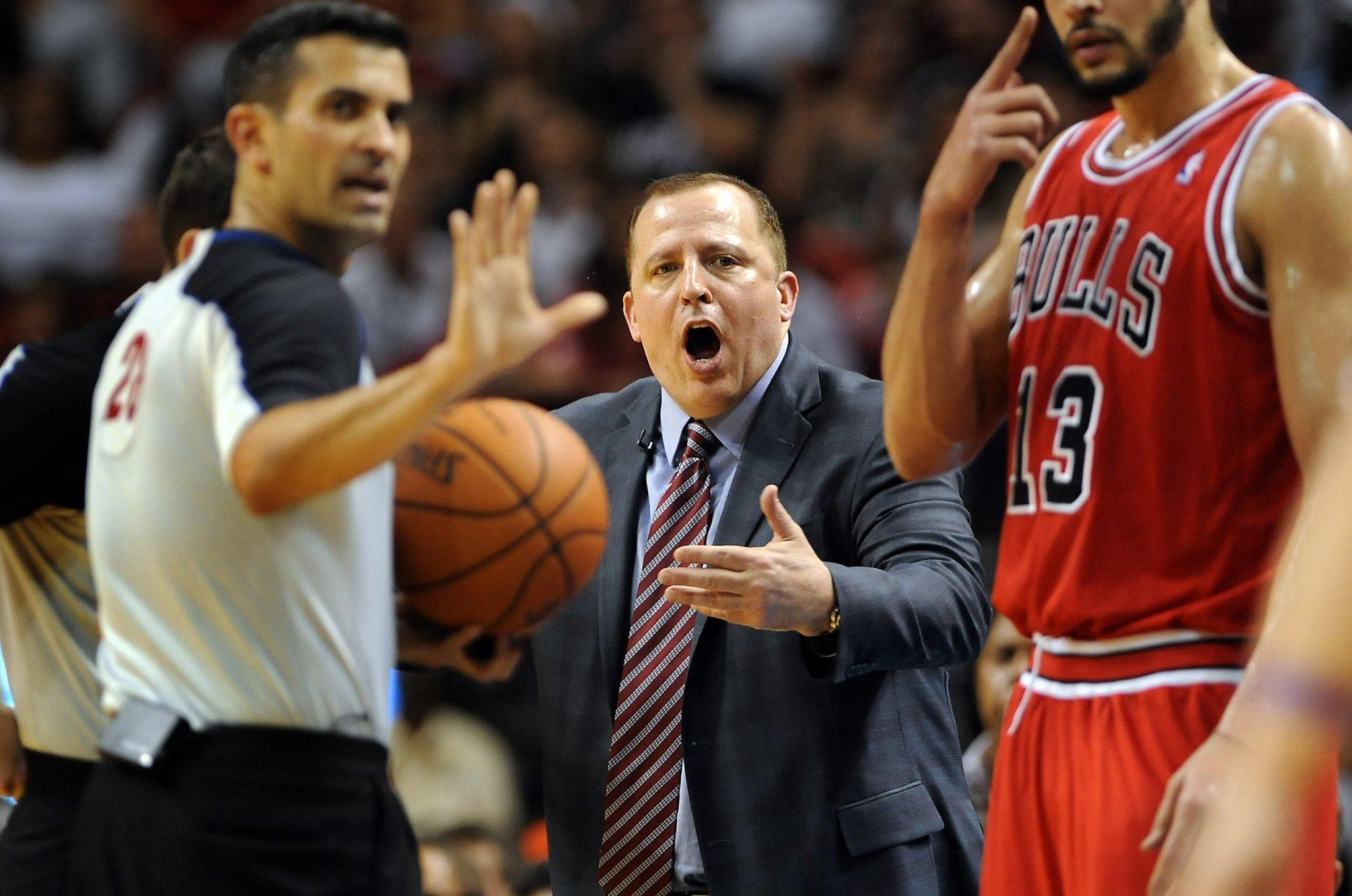Bulls head coach Tom Thibodeau yells out at officials late in the second quarter against the Heat.