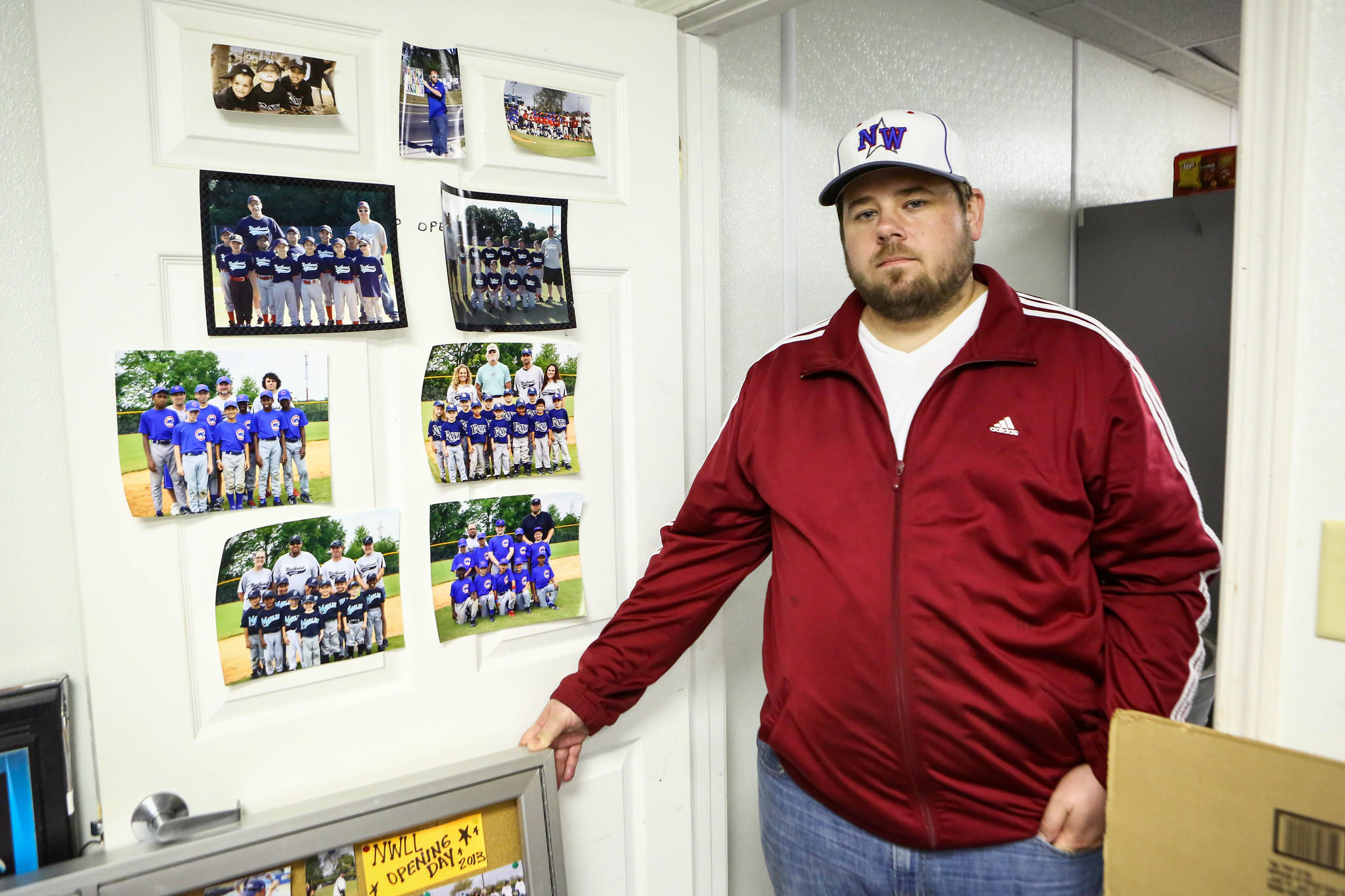 Robert Banyas, president of the Northwest Little League stands in the office of the concession stand near a damaged file cabinet after thieves stole equipment and concessions from the Rolling Hills Baseball Park on Pine Hills Road totaling more than $3,000 in Orlando on Thursday, February 27, 2014.