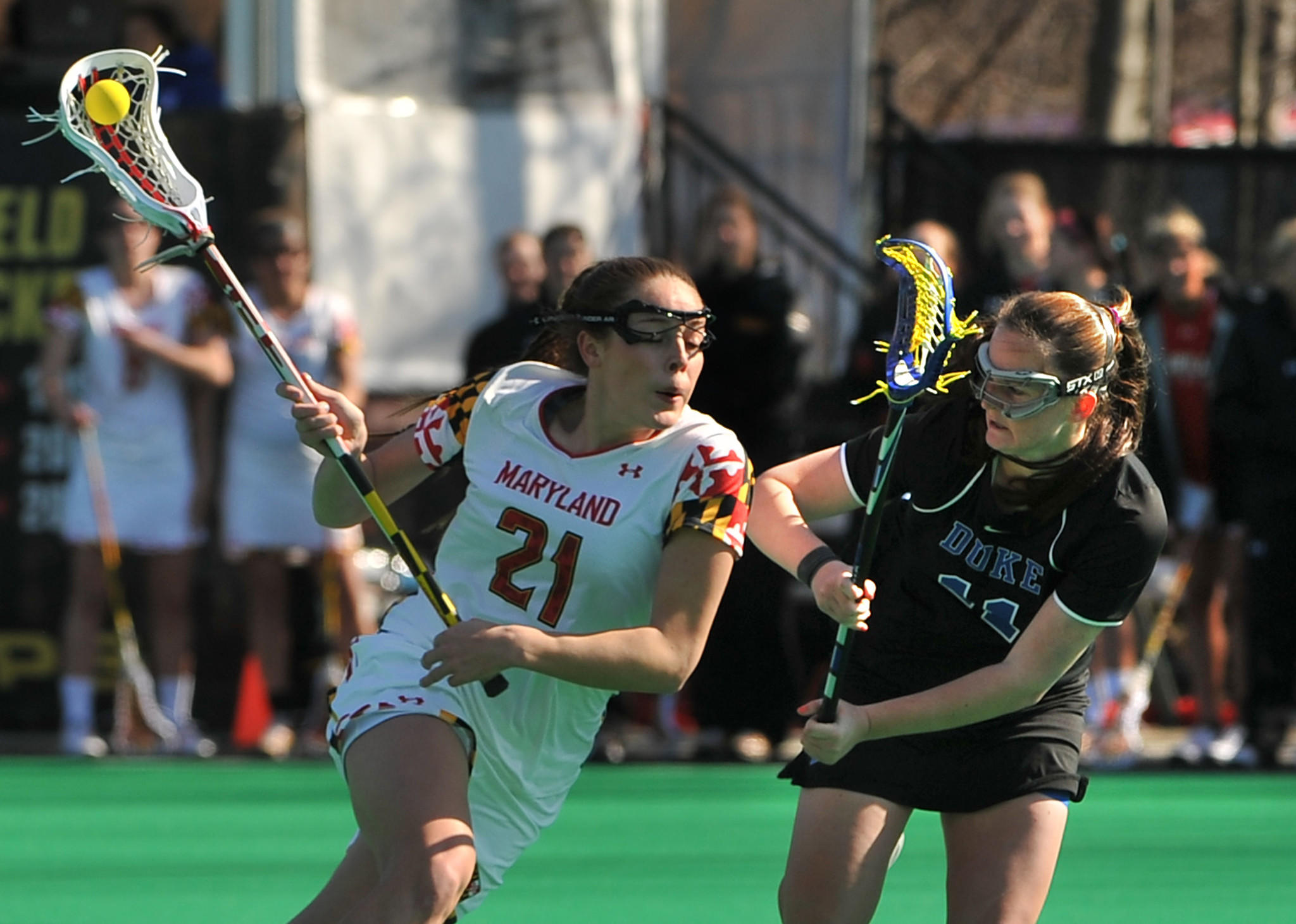 Maryland's Taylor Cummings, here matched against Duke's Erin Tenneson, was one of three Terps named to the 2014 Tewaaraton Award Watch List.
