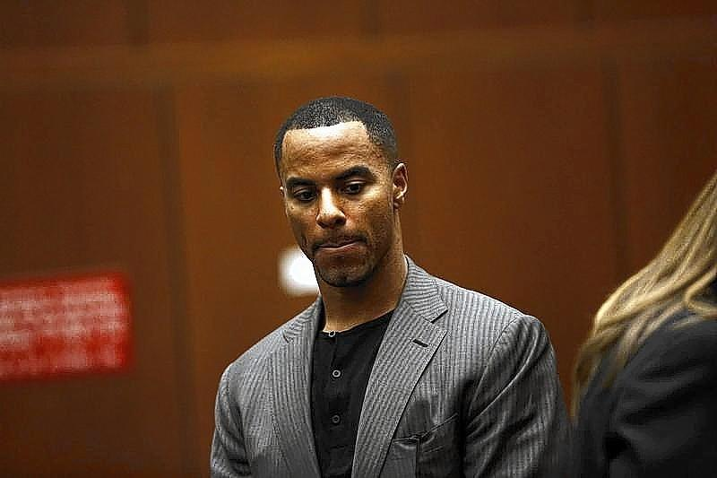 Former professional football player Darren Sharper appears for his arraignment at the Clara Shortridge Foltz Criminal Justice Center in Los Angeles on Feb. 20.