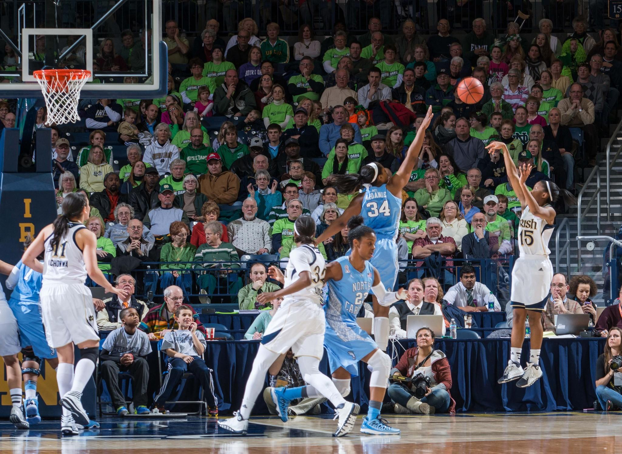 Notre Dame's Lindsay Allen shoots over North Carolina's Xylina McDaniel in the first half at the Purcell Pavilion.