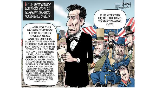Editorial cartoon:  The Gettysburg Excess