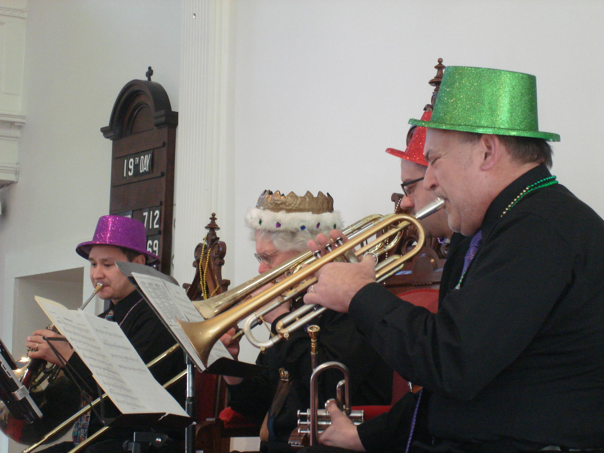 Members of the Brass City Quintet perform at the Avon Congregational Church. They will return to the church on March 2 for its annual Mardi Gras service.