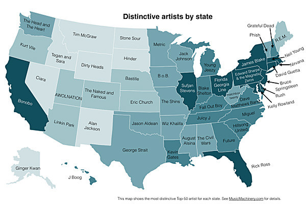 The United States Of Music Who Listens To What Where Map LA - Map of united states states
