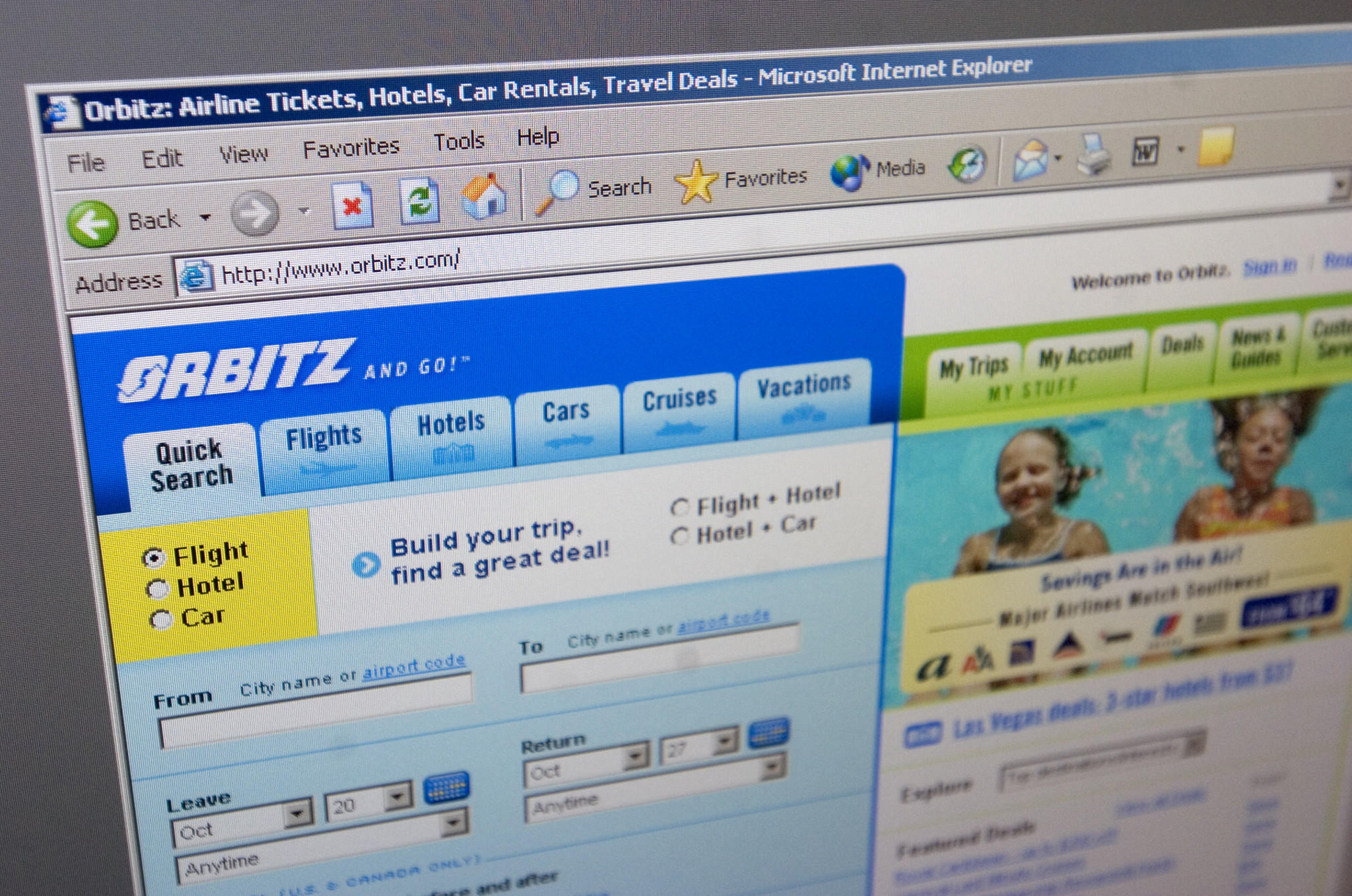 Orbitz homepage.
