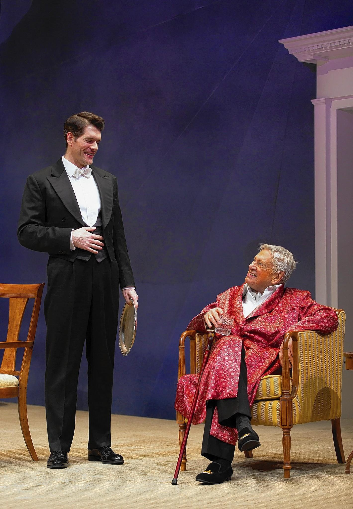 "Nicholas Carriere and Brian Murray in a scene from Noel Coward's ""A Song at Twilight"" at Hartford Stage"