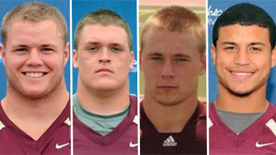 Kutztown University football players (L-R) Eric Thomas Condron, Jake Bryan Wygant, Justin Scott Wieder, and Angel Shakiel Cruz.