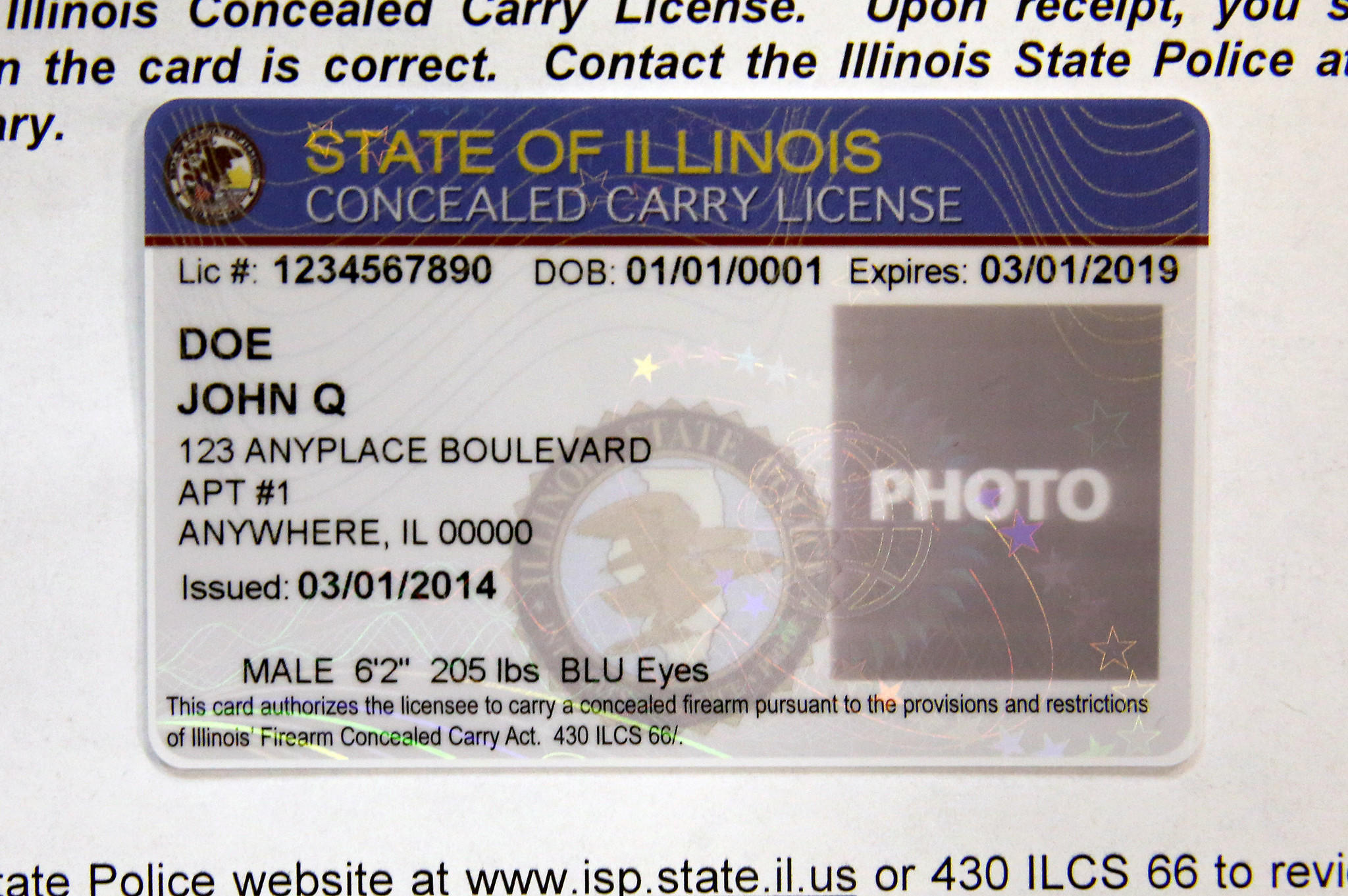 Sample of an Illinois concealed carry license.