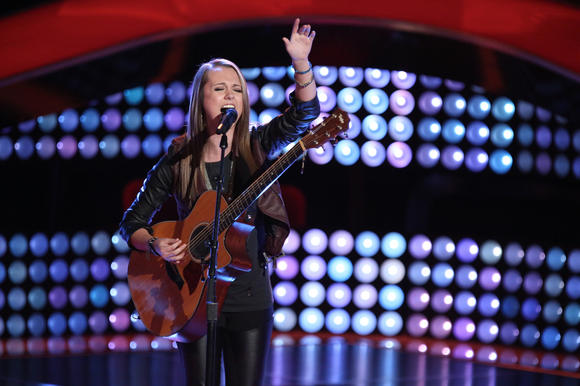 "Bria Kelly performing during her blind audition for NBC's ""The Voice."""