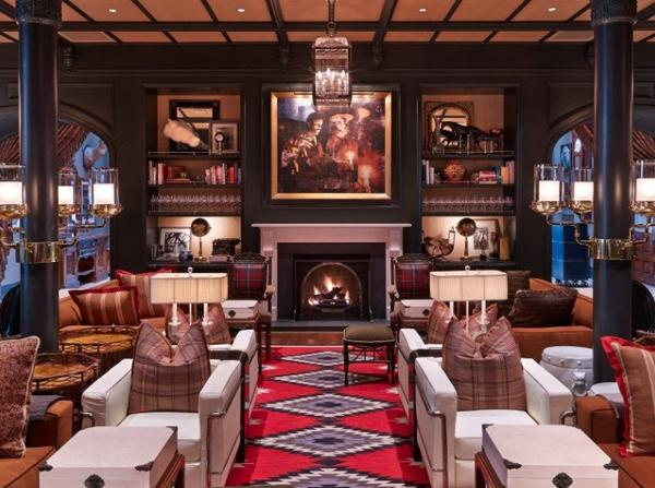 The lobby of the restored Hotel Jerome in ski town Aspen, Colo.